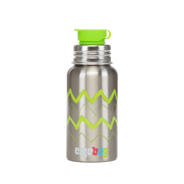 Edelstahl Trinkflasche Zick Zack grün